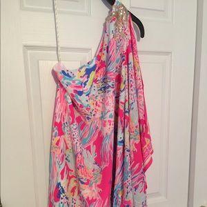 One shoulder silk cocktail dress